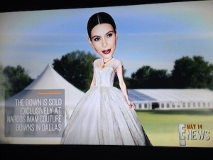 Nardos Imam gilded gold bridal gown featured on E! News.