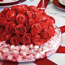 Fishbowl vase of mints and roses or your favorite flowers to top it off.